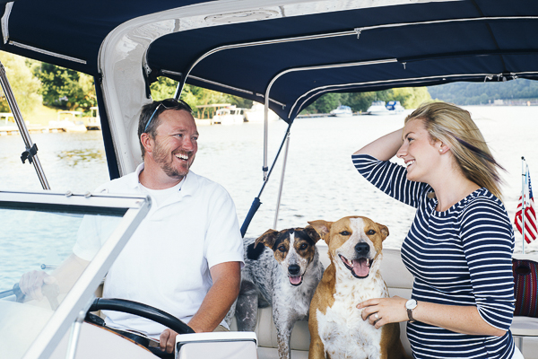 happy engagement photos with dogs, Allegheny River engagement pictures with dogs