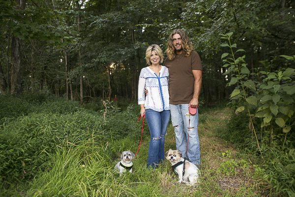 People and pets photography, Shih Tzu mixed breed in the woods with their people