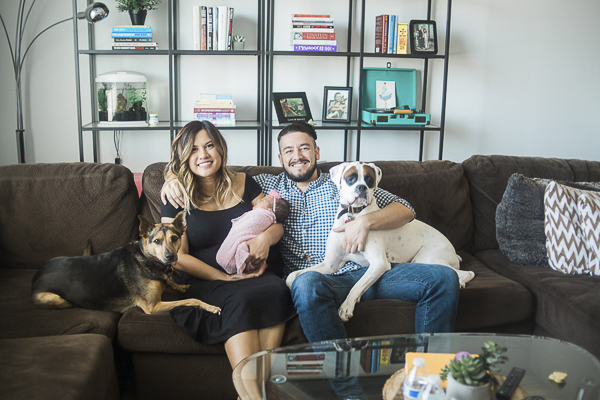 Boxer, mixed breed, newborn and parents, family photos with dogs ©Memory Layne Photography