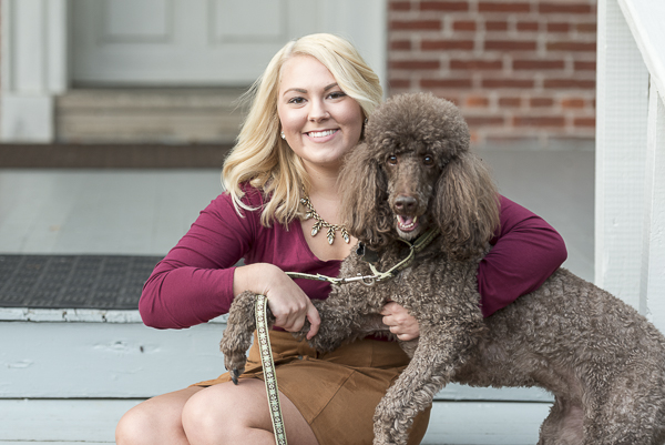 young woman and Brown Poodle, lifestyle family portraits
