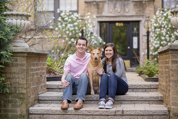 engagement photos with Shepherd mix in Lincoln Park