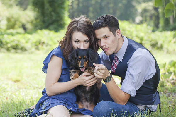 engagement photos with a Dachshund