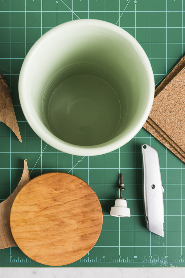 supplies for wooden lid ceramic crock, ©Alice G Patterson Photography | DIY lid for ceramic treat jar