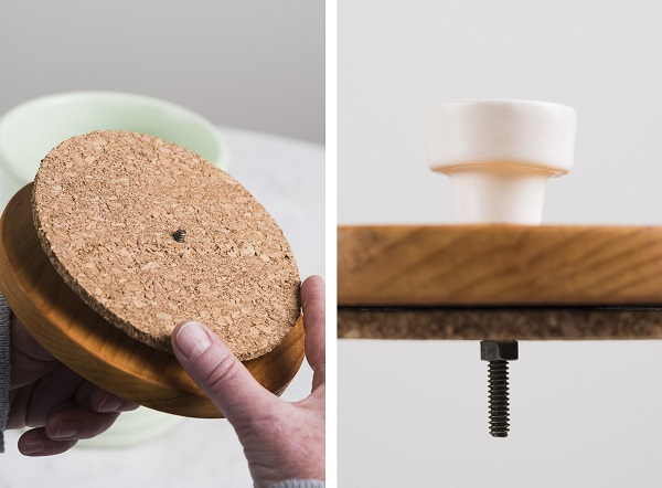 ©Alice G Patterson Photography   DIY lid for ceramic treat jar, placing cork on wood, knob detail