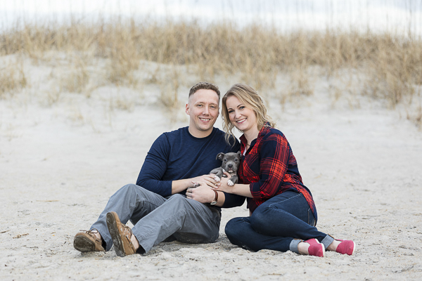 winter engagement photos with puppy, Wrightsville Beach, ©Erin Costa Photography