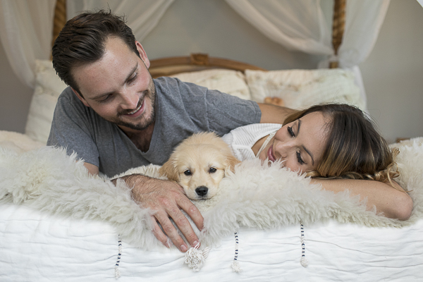 newborn puppy session, Golden Retriever puppy lying on bed with humans, when your first baby is a dog