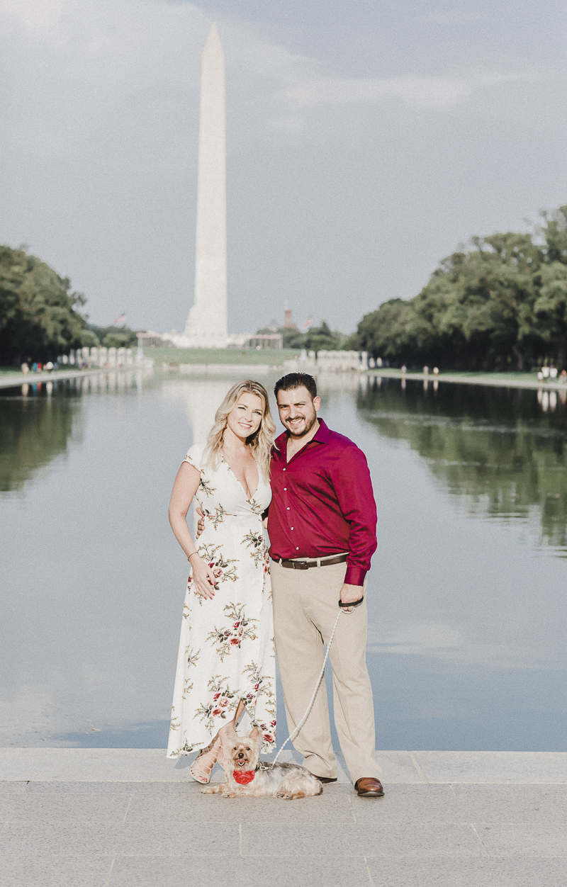 Dog Friendly Engagement pictures at Washington Monument | ©M Harris Studios | DC Engagement photos with Yorkie