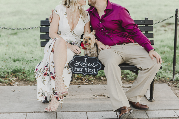 """couple sitting on bench with Yorkie, """"I loved her first"""", Washington DC Engagement photos with dog"""