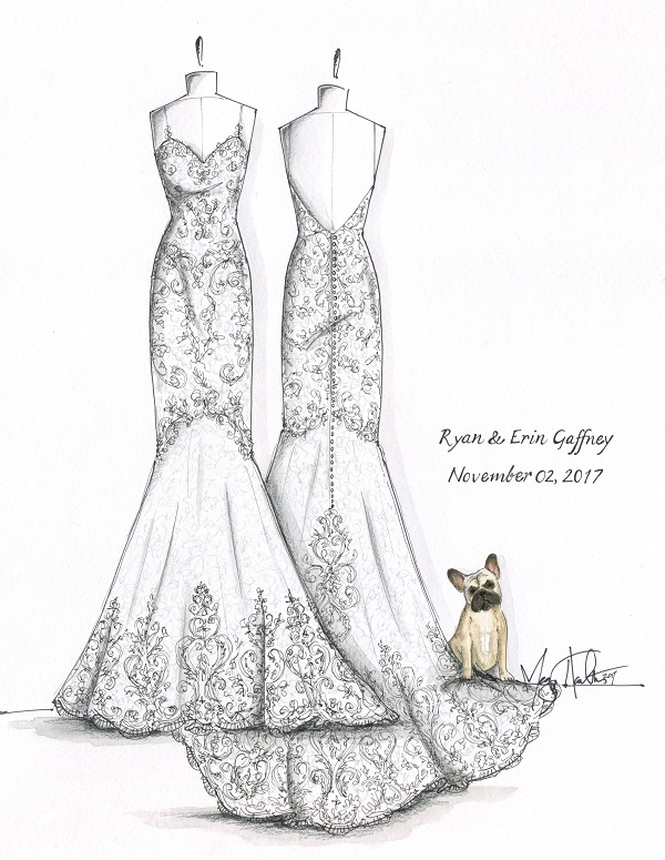 Wedding Illustration-wedding gown and Frenchie