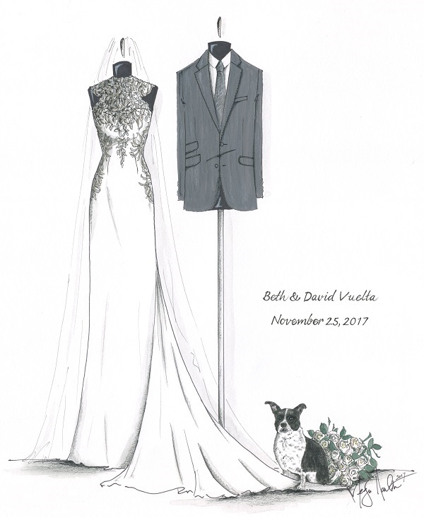 Wedding Attire and dog, Megan Hamilton Wedding Illustrations, sketch, ways to include pets in wedding festivities