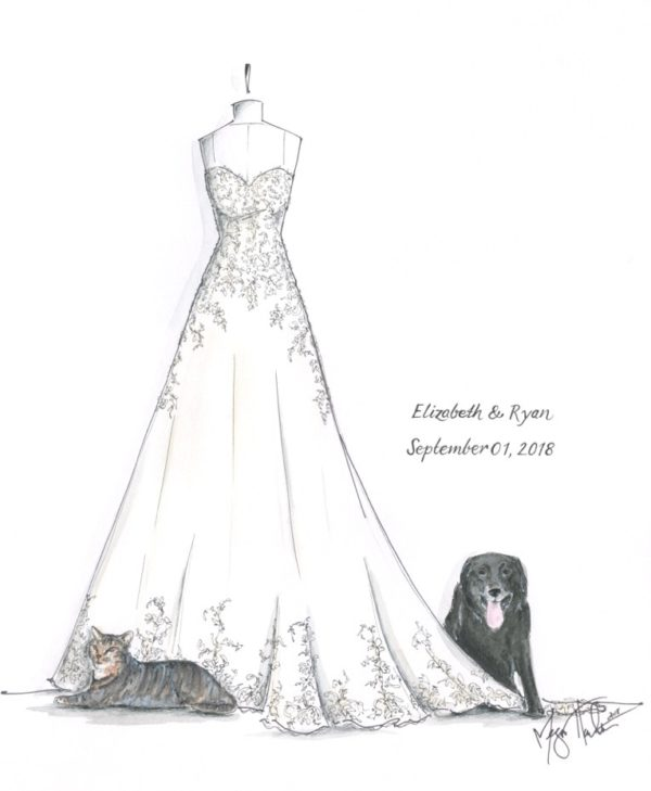 Sketch of wedding gown, cat, and dog ©Megan Hamilton Wedding Illustrations