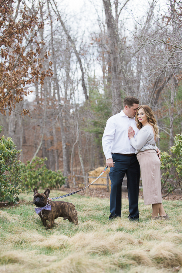 ©Meghan Rolfe Photography | Asheville Engagement photos with French Bulldog