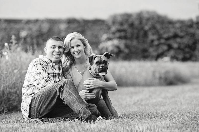black and white engagement photos with dog