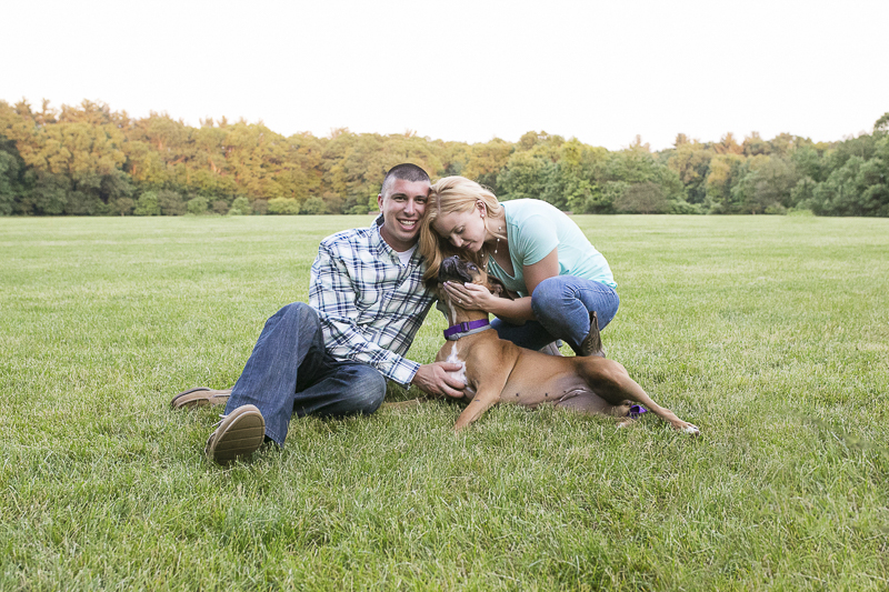 summer engagement pictures with Boxer in New England, ©Moments By Melanie