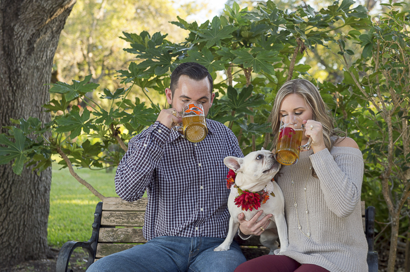 engagement photos, beer and dog, ©Ata-Girl Photography | dog friendly engagement session