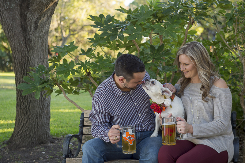 Frenchie licking man's face, ©Ata-Girl Photography | engagement photos with a dog