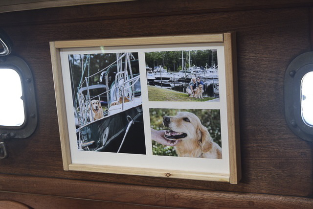 framed collage of professional photos on boat
