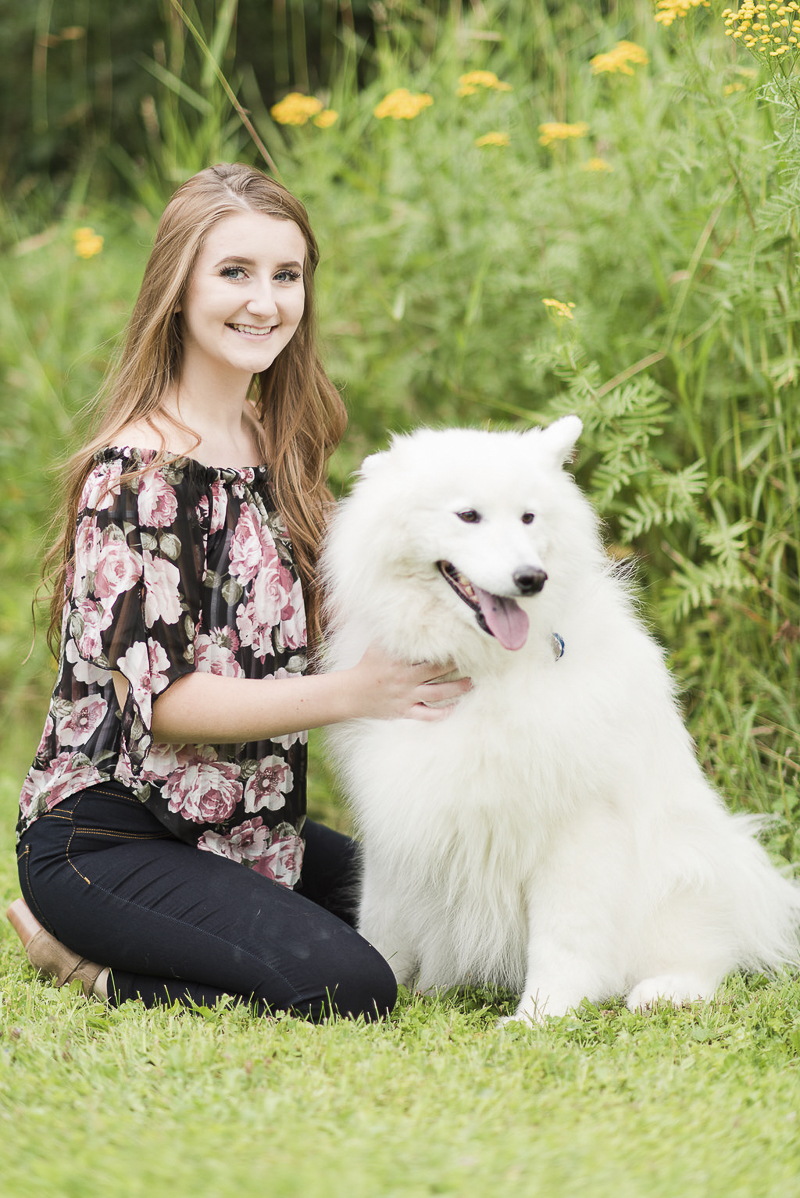 dog friendly senior portrait session, high school senior and Samoyed