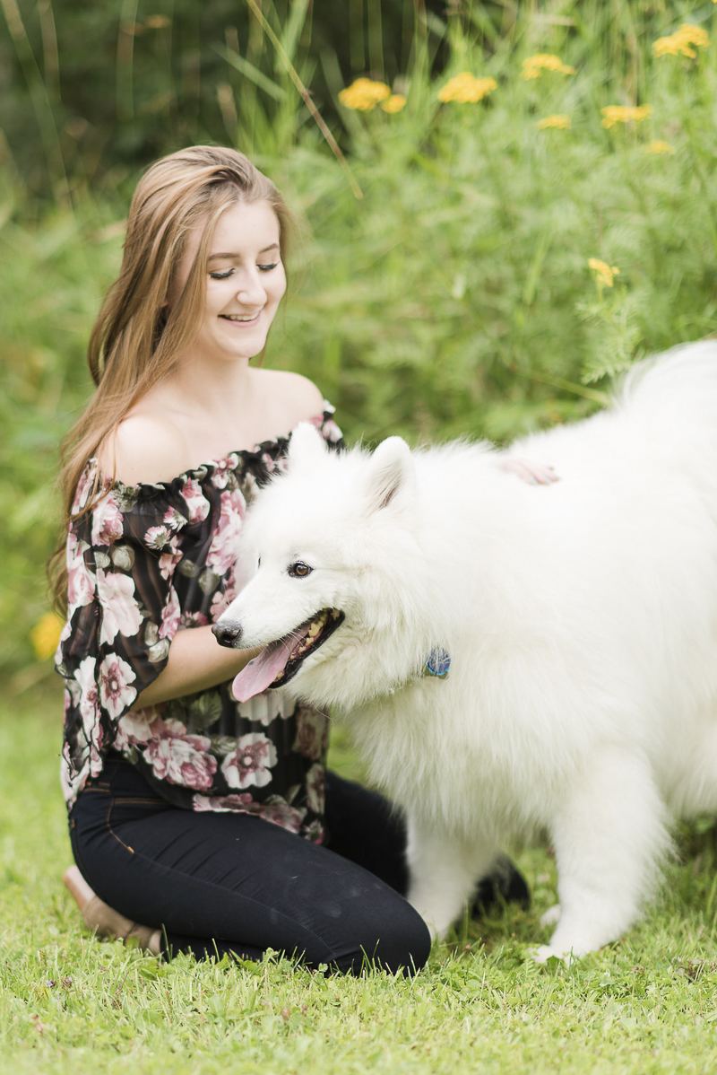 happy Samoyed and her bestie, ©Kayla Lee Photography | Dog Friendly Senior Portraits