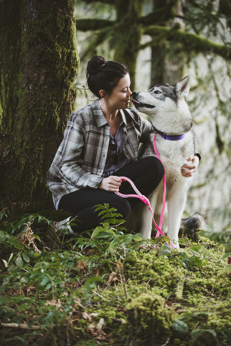 dog licking person's nose, bond between dogs and people, ©Laurie Jean Photography Tillamook State Forest
