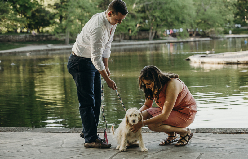 proposal pictures with a goldendoodle puppy ©Mikela Wendel Photography