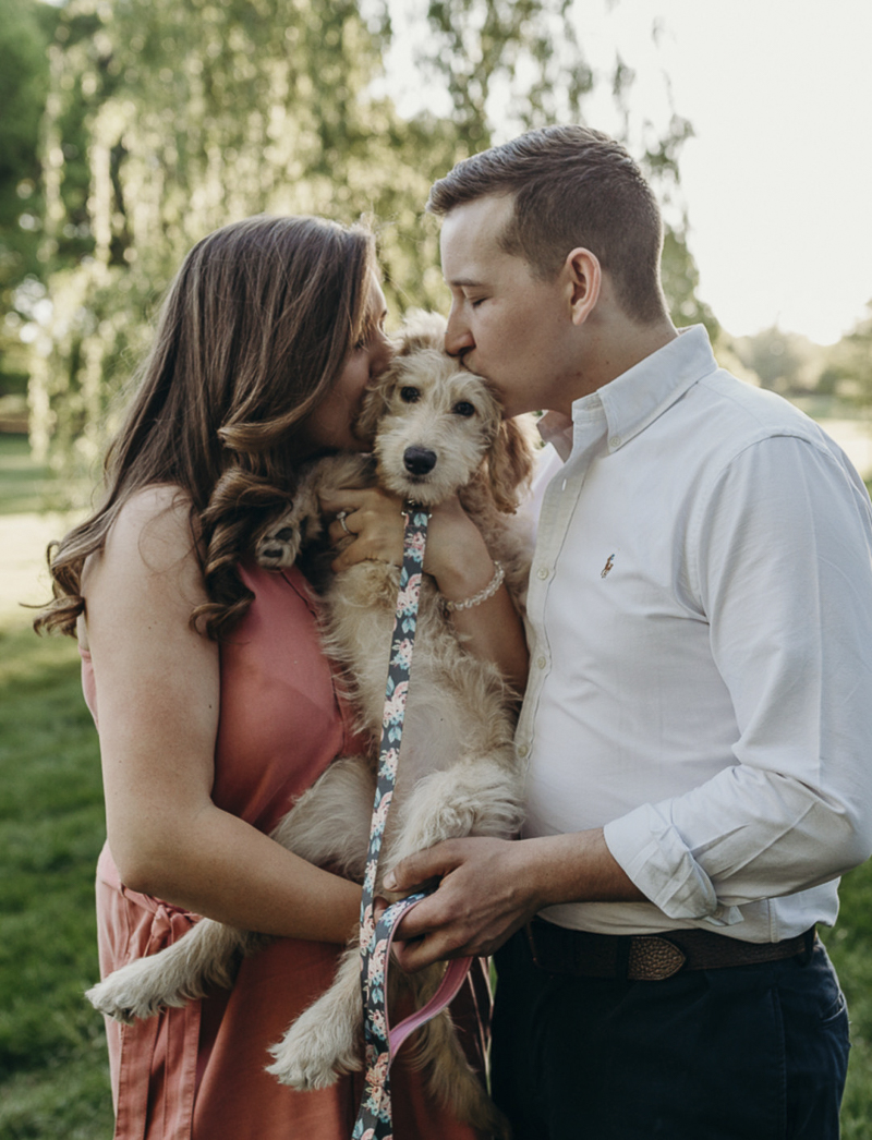 engagement photos with Goldendoodle puppy, proposal pictures with a goldendoodle puppy ©Mikela Wendel Photography
