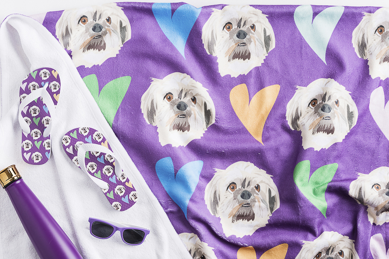 adorable custom flip flops with dog faces, beach towel with dog's portrait