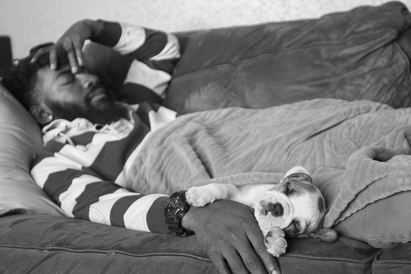 man and tiny puppy napping on couch, ©SunRae Photography