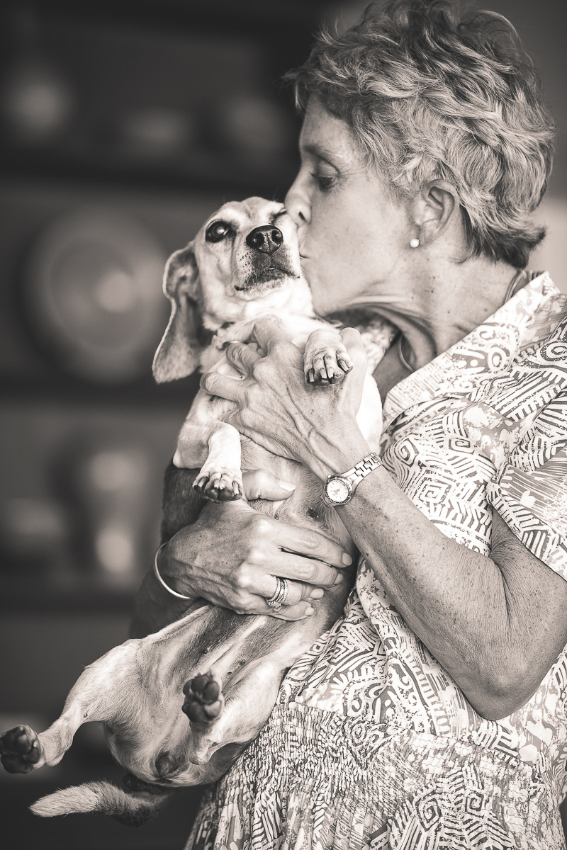woman kissing Beagle, love between humans and their dogs | ©Amanda Emmes Photography | environmental dog portraits