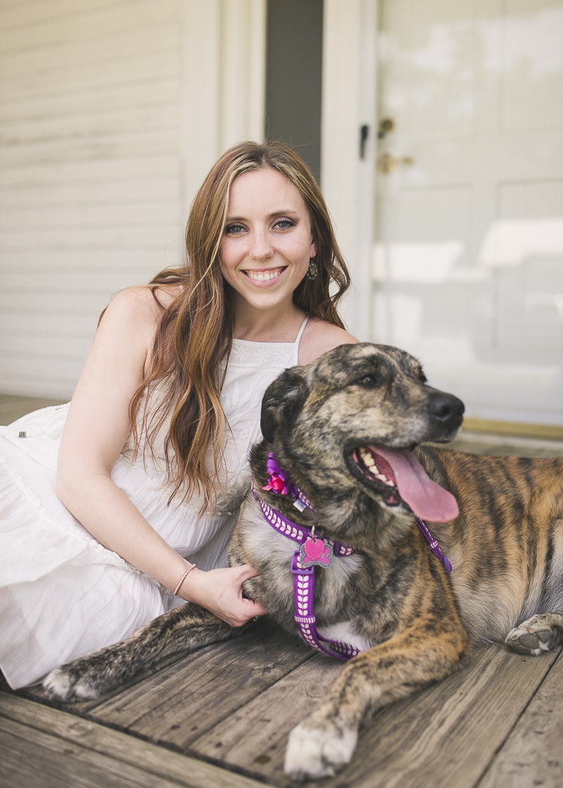 woman with brindle mixed breed dog | ©Brandy Angel Photography