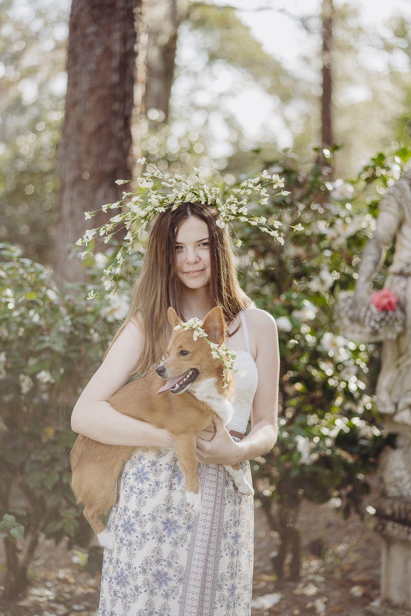 girl and dog wearing matching floral crowns | ©DR Photography, Winter Park, Florida