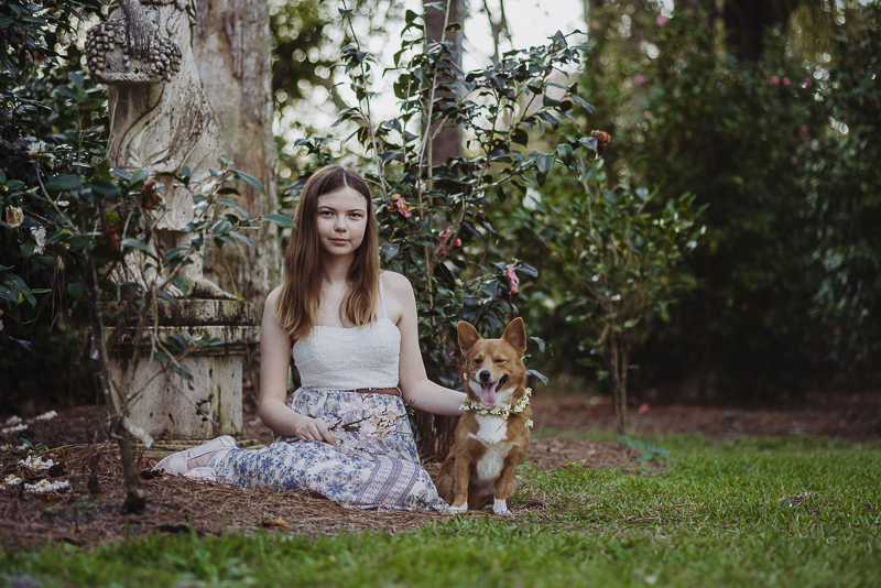 girl sitting on ground with Corgi in rose garden | ©DR Photography | Winter Park Portraits
