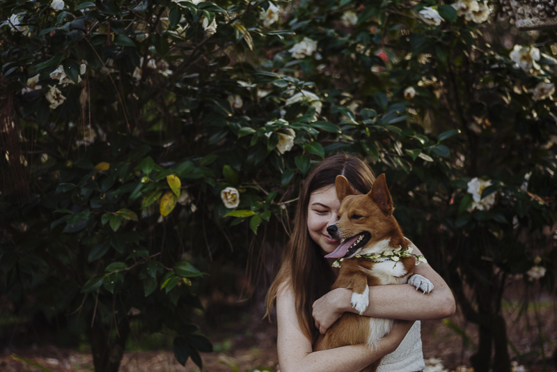 girl and her dog, Corgi, lifestyle dog photography