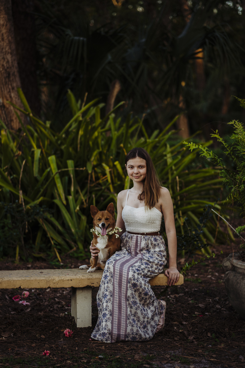 girl and Corgi sitting on bench in rose garden ©DR Photography | lifestyle family portraits
