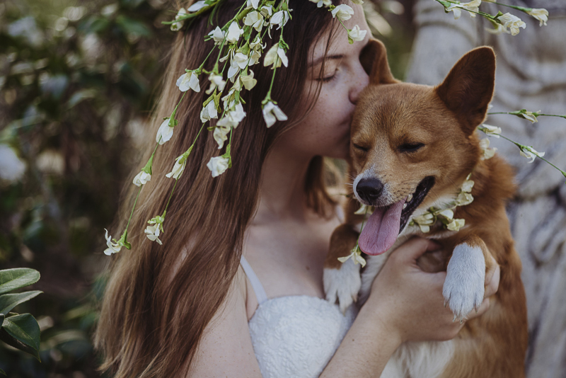 girl and dog wearing flower crowns, | ©DR Photography | lifestyle family photography