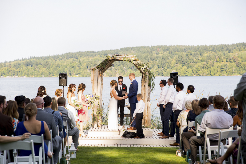 outdoor wedding with dog as flower girl, ©Emma Lee Photography | wedding dog