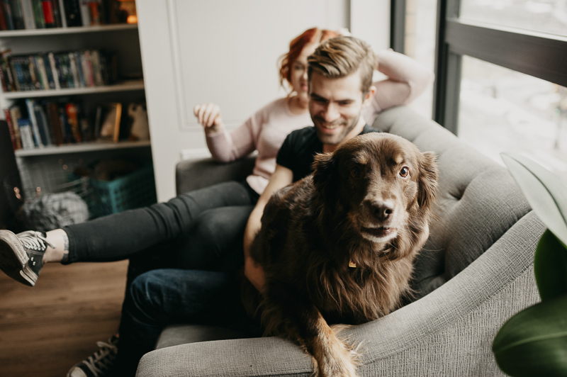 Family photos with dog, Aussie mix on sofa with people ©Empiria Studios | lifestyle dog photography