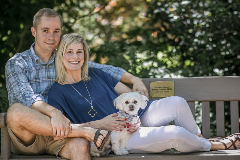 couple on park bench with dog, dog friendly anniversary photos, ©Images by Amber Robinson- Raleigh, NC
