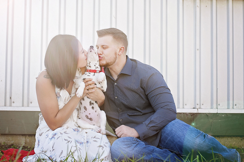 woman and man kissing their Dalmatian puppy | ©Kelly Urban Photography | dog friendly engagement photos, Richmond, Texas