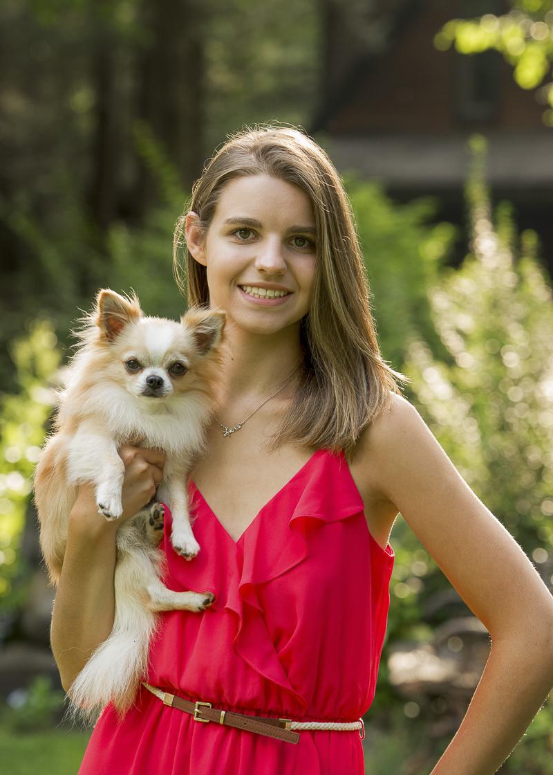high school senior holding long haired Chihuahuas ©Trina Bauer Photography | Dog-Friendly senior portraits