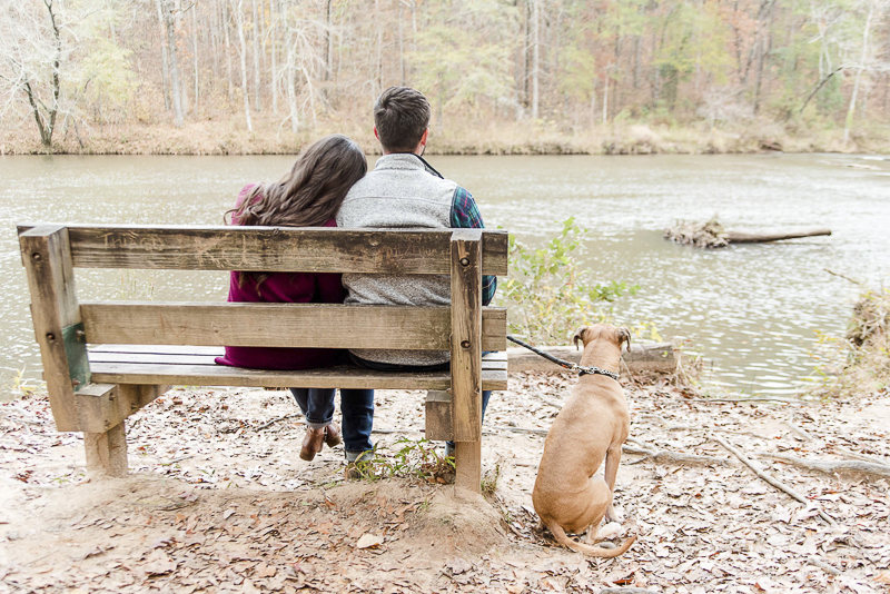 couple sitting on a bench looking at river, dog sitting next to them, ©Heather K Cook Photography | Atlanta dog friendly engagement portraits