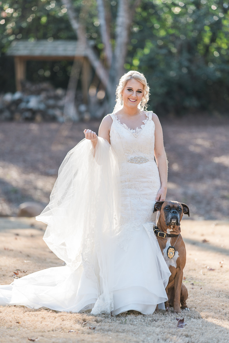 bride and her Boxer, ©Sugar Peach Productions | including a dog in bridal session