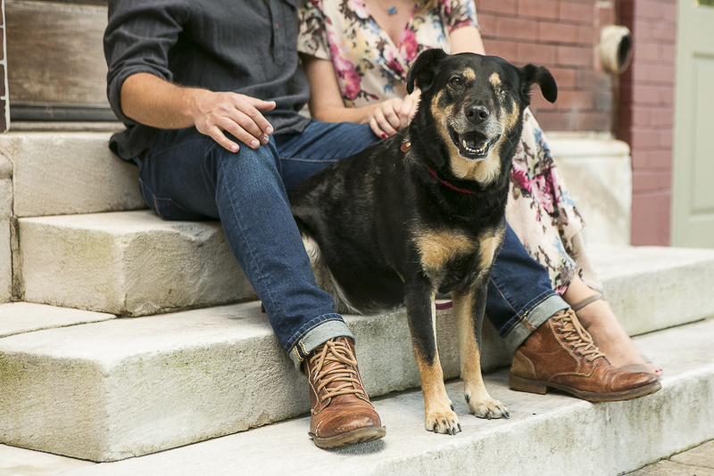 happy Chow mix sitting on steps with her humans, Nashville lifestyle dog photographer, ©Mandy Whitley Photography
