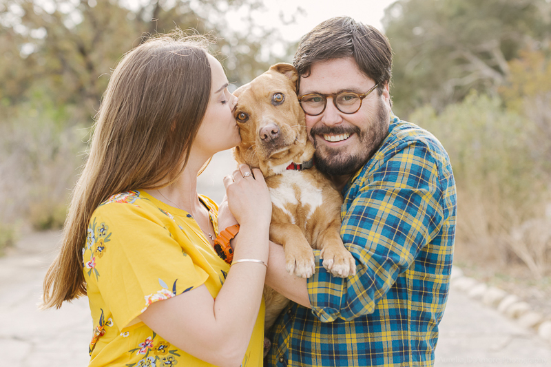 couple holding their dog, ©Aurelia D'Amore Photography | dog friendly engagement photos