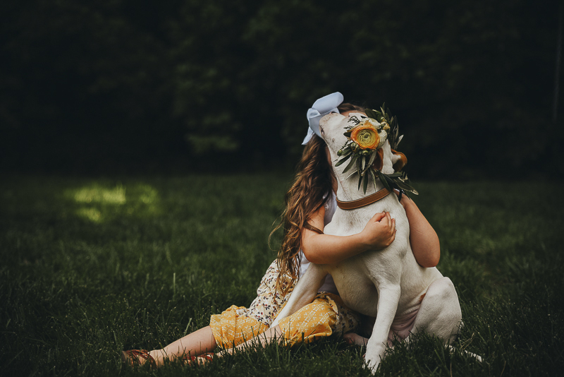 girl and her dog sitting on the grass, Lifestyle dog photography ©Simply Perfect Photography
