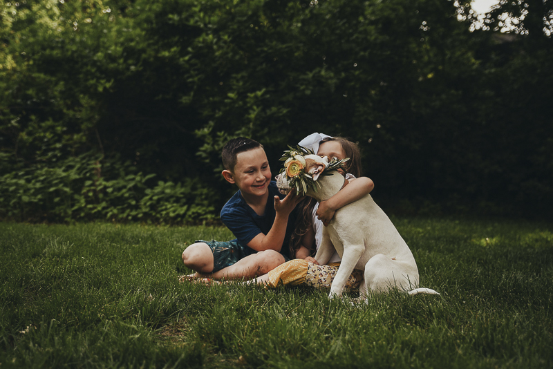 kids and dog sitting on grass | Lifestyle dog photography ©Simply Perfect Photography