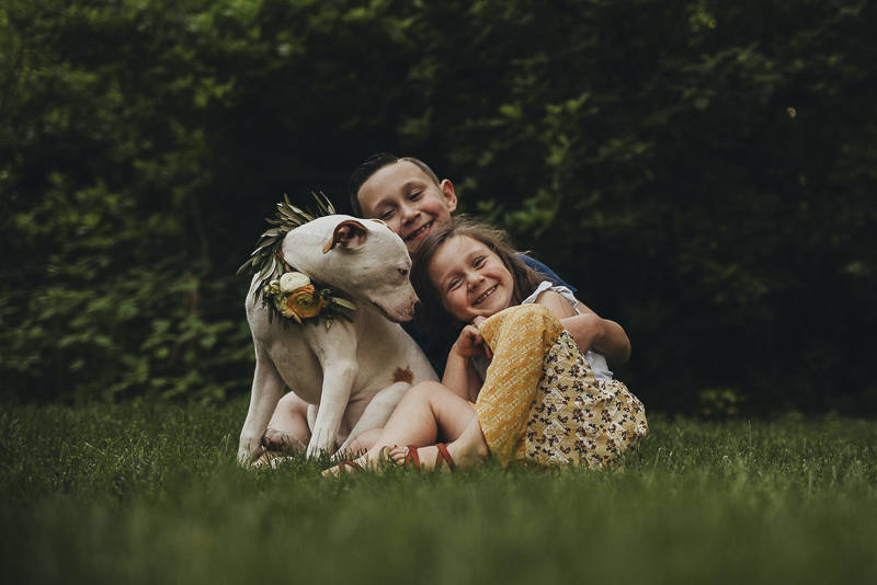 Kids and their pit bull puppy | Lifestyle dog photography ©Simply Perfect Photography