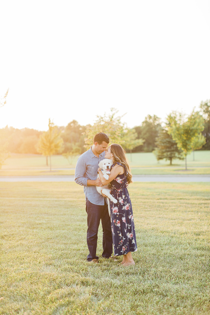 couple and their new Golden Retriever puppy   ©Victoria Hunt Photography   Indiana lifestyle photography