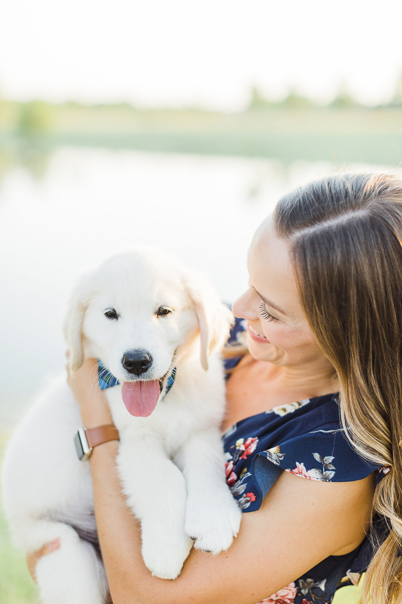 adorable Golden Retriever puppy and his person, ©Victoria Hunt Photography | Indiana lifestyle photography