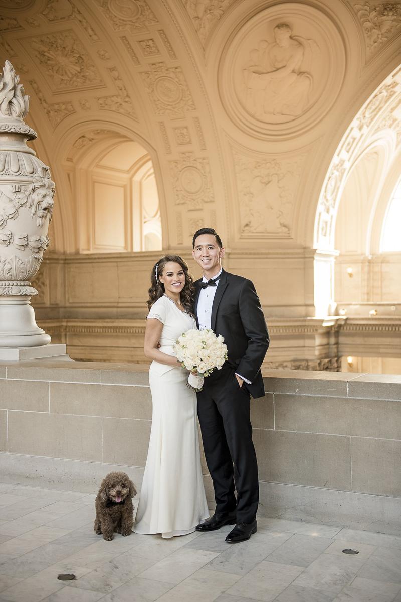 wedding photos with dog, ©Holly D Photography | dog friendly SF City Hall wedding